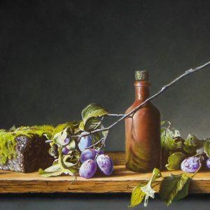 Stilleven met pruimentak steen en kruik- Jan Teunissen