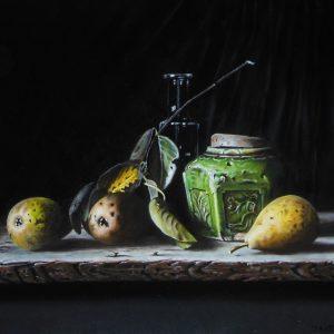 Stilleven met peren en gemberpotje - Jan Teunissen