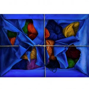 Blauw pakje wol - Viv Hermans