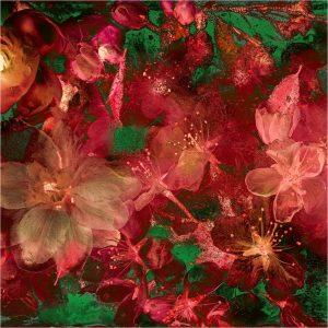 Bloemencompositie in rood en groen - Rob de Heer